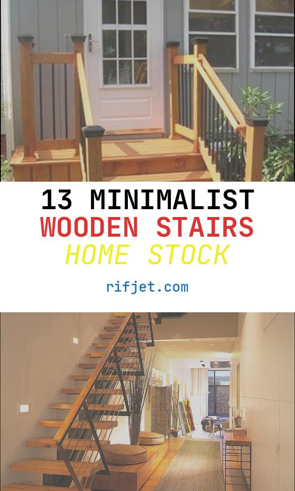 13 Minimalist Wooden Stairs Home Stock