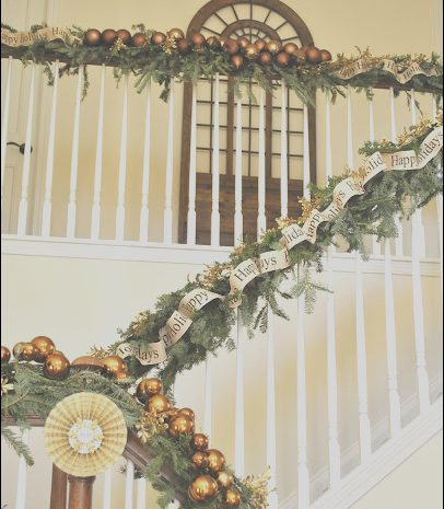 12 Peaceful Ideas for Decorating Stairs at Christmas Stock