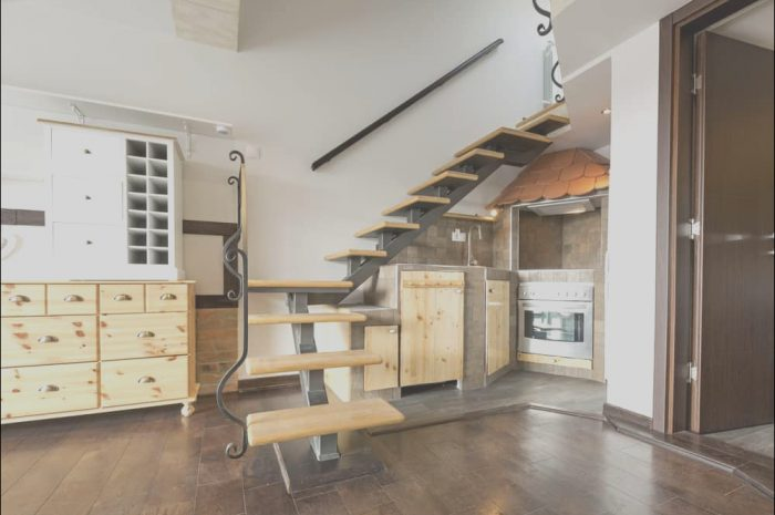 13 Staggering Open Kitchen Design Under Stairs Photos