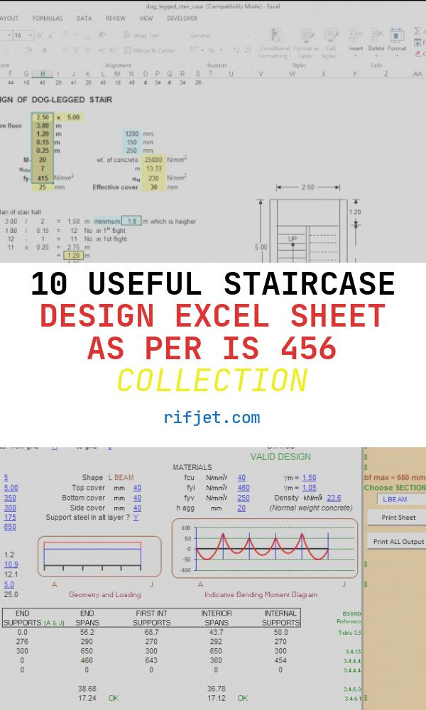 10 Useful Staircase Design Excel Sheet as Per is 456 Collection
