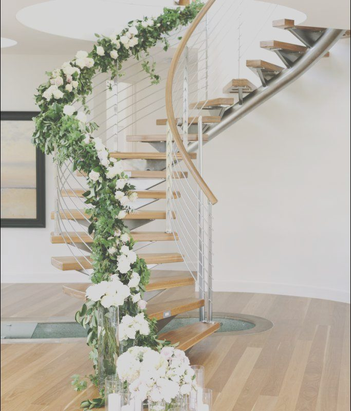 Stairs Decoration Wedding Elegant Staircase Garland and Flowers In 2019