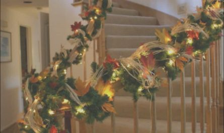 Stairs Garland Decoration Unique Sweeping Staircase with Garland Featured String Lights