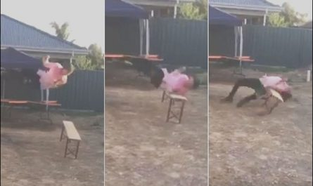 Guy Jumps Off Stairs Into Table Luxury Video Shows Man Jumping Off A Table and Into A Bench