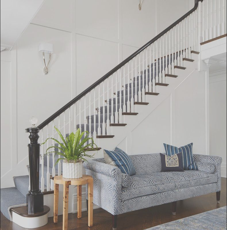 Sofa In Front Of Stairs Beautiful White Staircase with Dark Wood Carpet Runner Black