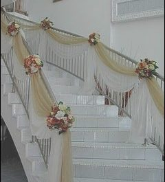 Stairs Decoration for Wedding Inspirational Golden Staircase Wedding Design with Flowers