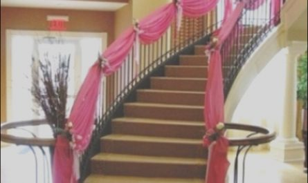 Stairs Decoration with Cloth Unique Pink Draped Staircase Drapery Wedding