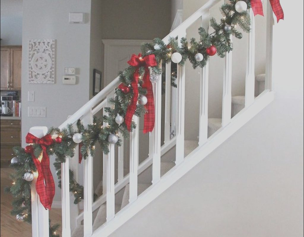 Stairs Furniture Xmas Beautiful Brilliant Christmas Garland Decorating Ideas