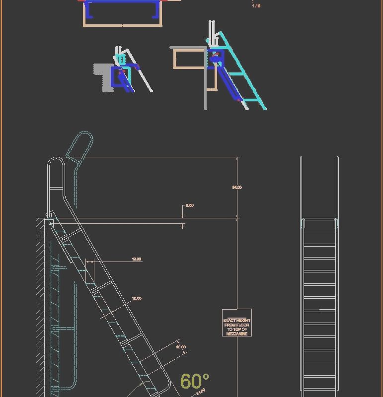 Stairs Roof Dwg Beautiful Ladder for Roof Access 2d Dwg Elevation for Autocad