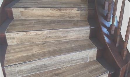 Stairs Wooden Tiles Lovely Wood Looking Tile with Newly Stained Banister In 2019