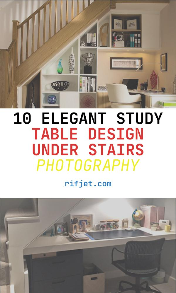 10 Elegant Study Table Design Under Stairs Photography