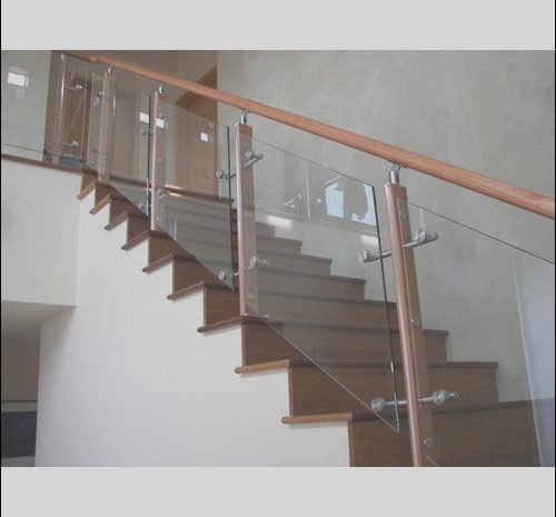 8 Quoet Wooden Railing with Glass for Stairs Image