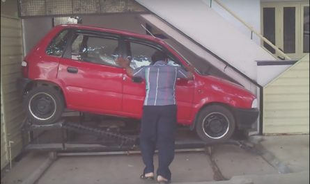 Car Parking Under Stairs Unique Problem solved Man Builds Tiny Garage for Tiny Car to