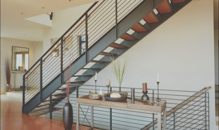 Contemporary Metal Stairs New Metal Stair Railing Staircase Rustic with Art Brown