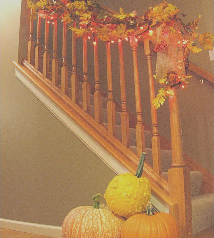 Decorating Stairs with Pictures Beautiful Decorating the Staircase for Fall Living Rich On