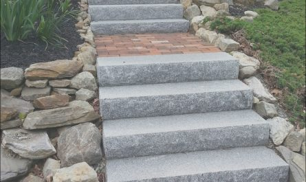 Outdoor Stone Stairs Ideas Fresh Salt & Pepper Granite Steps W Red Brick Inlay