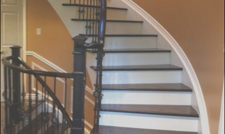 Contemporary Painted Stairs Awesome Stair Case Wrought Iron Pickets Stained Risers Painted