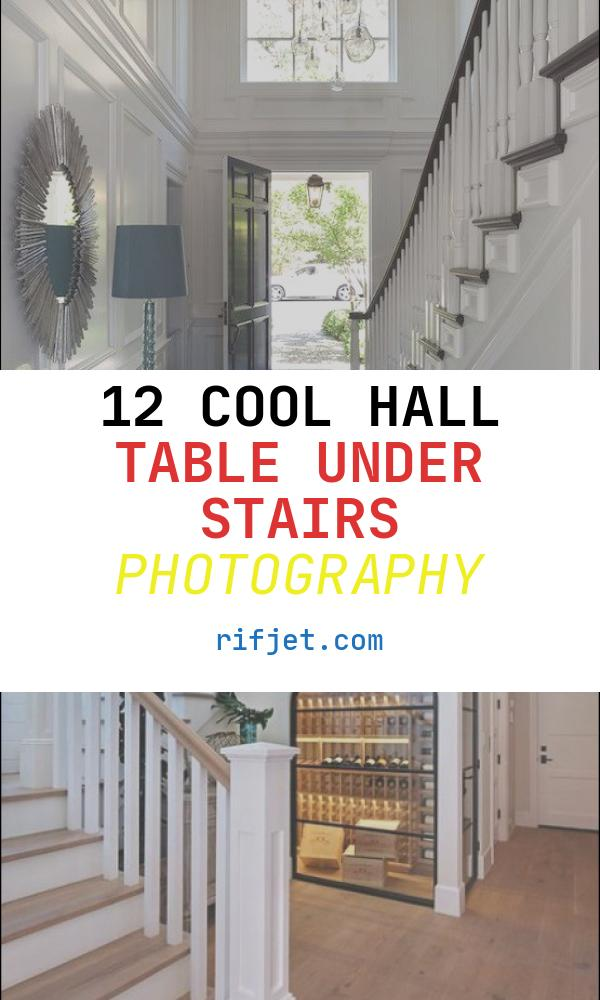Hall Table Under Stairs Lovely Long Foyer Boasts Walls Clad In Decorative Moldings Lined