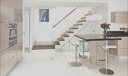 Modern Kitchen with Stairs Luxury Modern Kitchen Stairs Stock Royalty Free Image