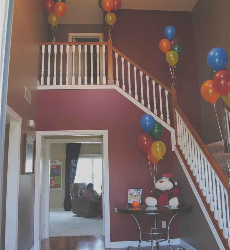 Stairs Decoration for Party Beautiful Curious George Party Decorations Staircase with Balloons