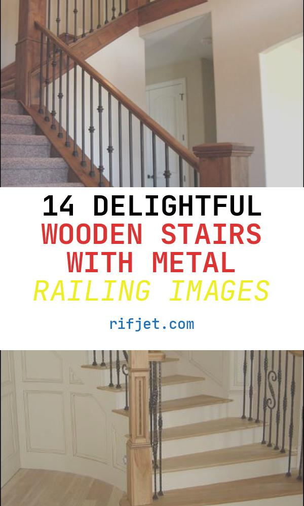 Wooden Stairs with Metal Railing Awesome Wood Railing with Wrought Iron Balusters Traditional