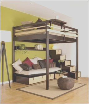bunk bed with desk under