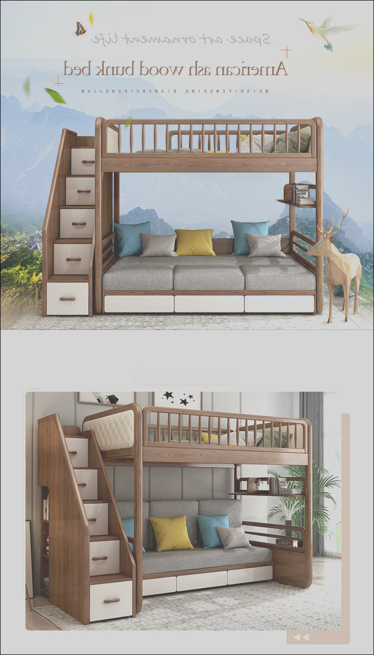 solid wood bunk sofa bed folding sofa bunk bed with stairs