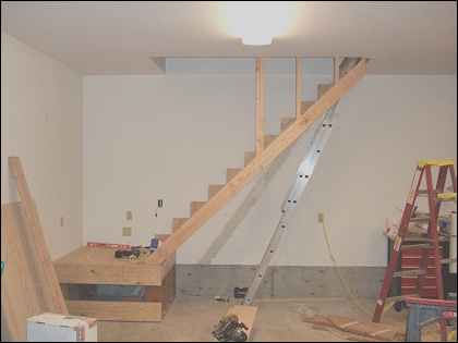 building stairs to attic in garage