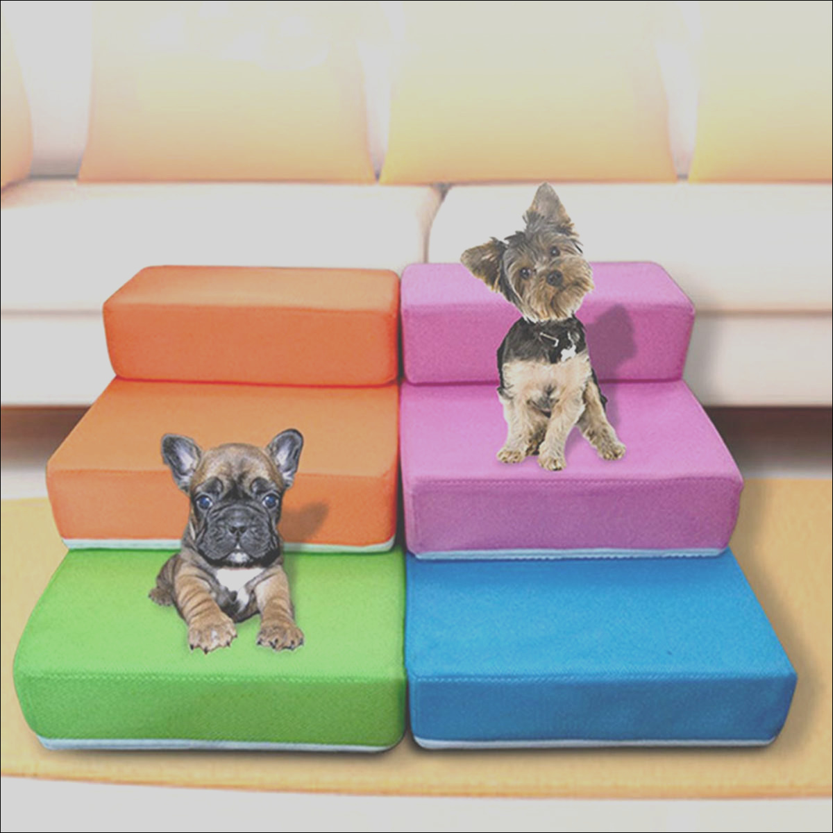 Pet Stair 2 Step Portable Puppy Dog Cat Soft Indoor Sofa Bed Folding Ramp Ladder Pet Bed p