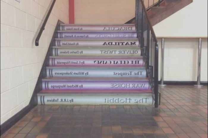 14 Remarkable Stairs Decoration In School Photos