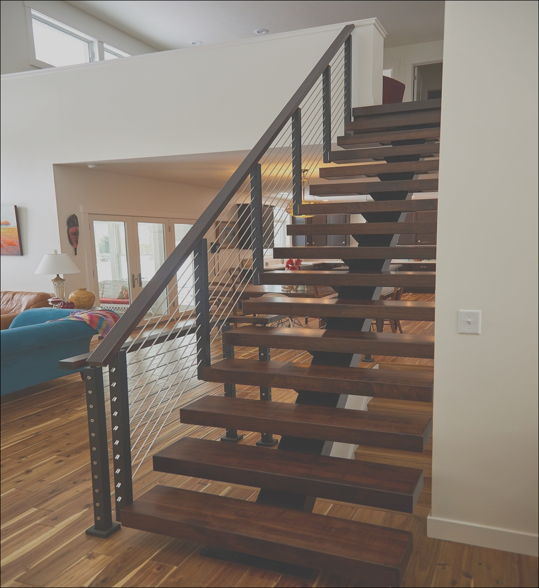 China Simple Indoor Steel Stair Mono Stringer Straight Staircase Design Modern Wood Handrail Stairs