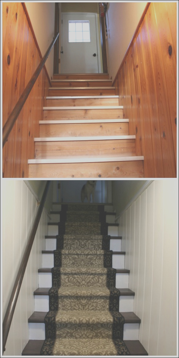 basement stairs makeover
