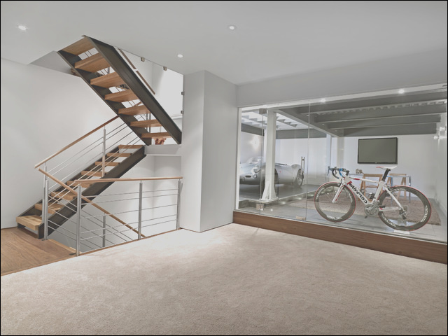 Lower Garage and Stairs contemporary basement edmonton