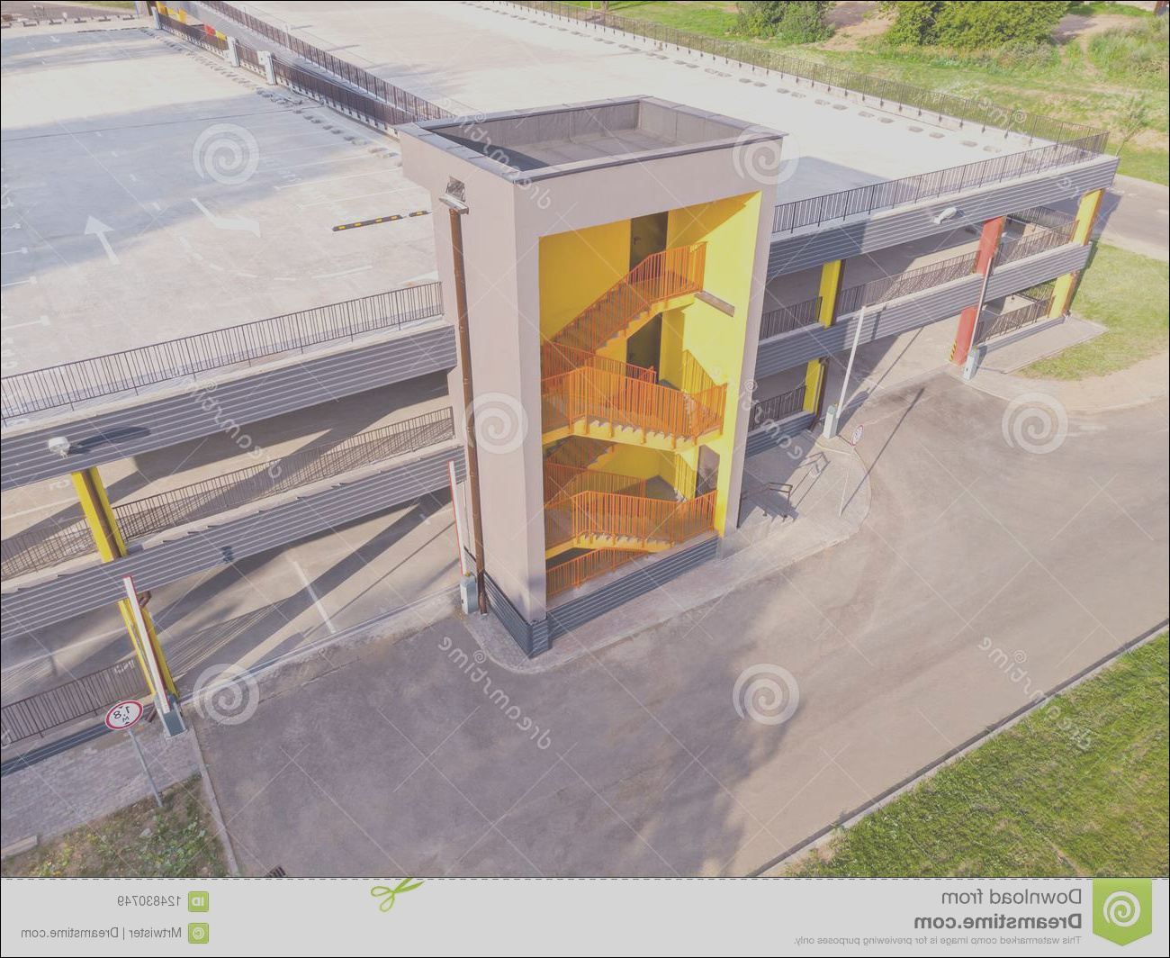 drone photo modern empty multilevel car parking emergency exit stairs aerial photo modern empty multilevel car parking image