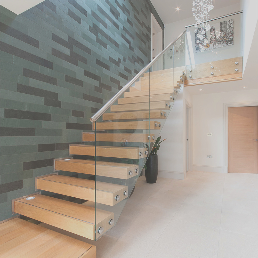 China Contemporary Floating Staircase with Wood Tread Invisible Stringer Straight Stairs