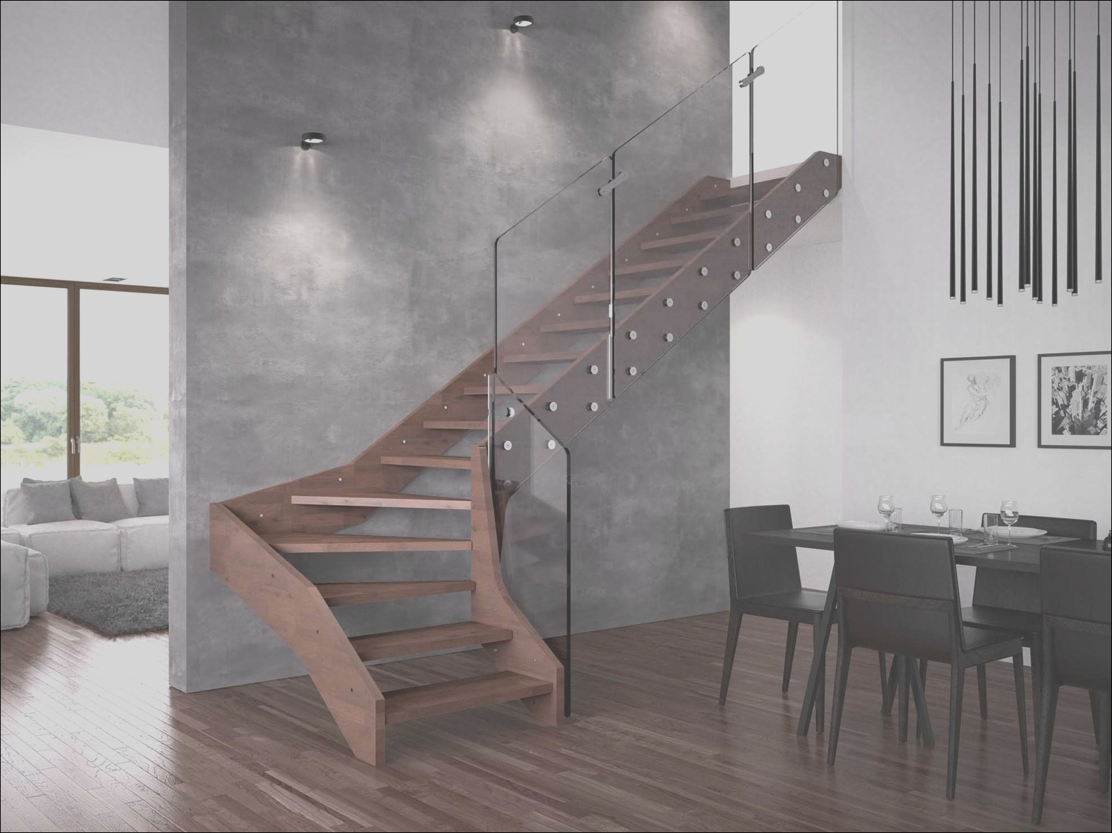 contemporary open wooden frame staircases with glass tailing by rintal visio