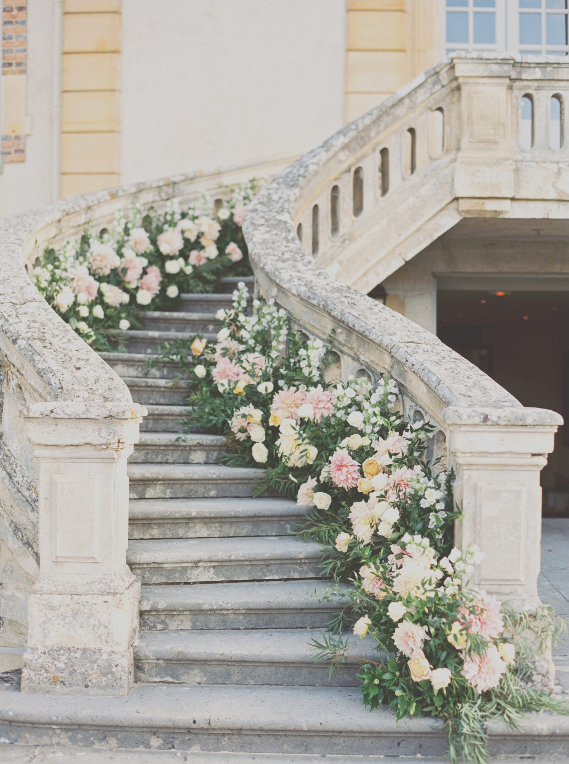 wedding stair banister flower greenery decoration ideas