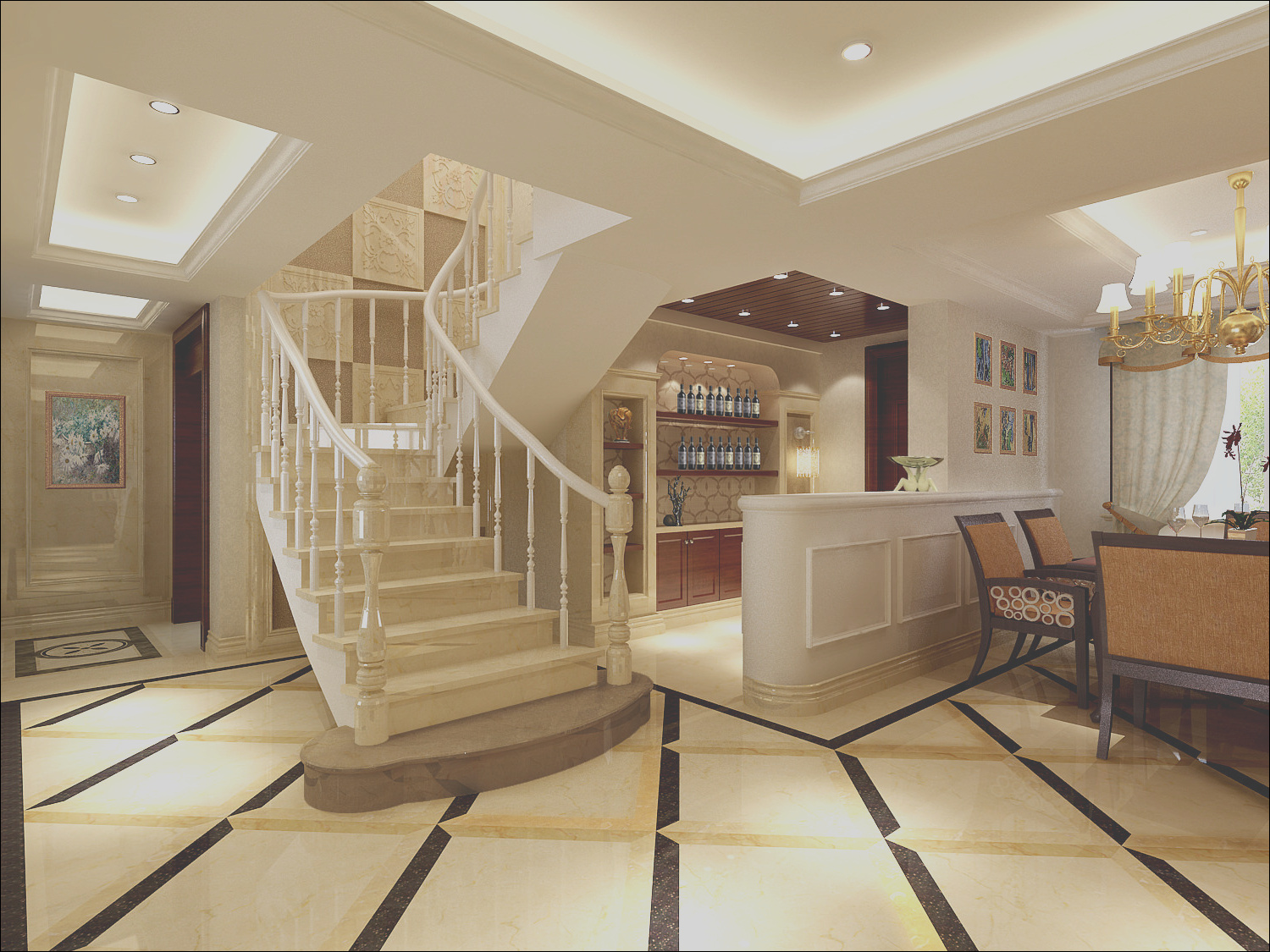 modern living room with stairs 4
