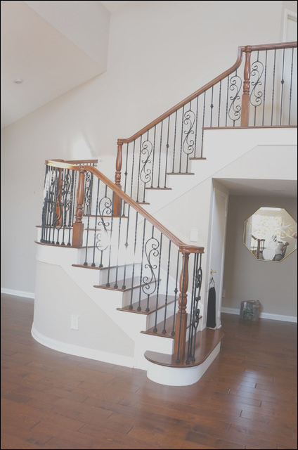 Wood and Iron railings traditional staircase orange county
