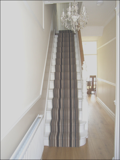 engineered oak hall floor with striped stair carpet runner contemporary hallway and landing other