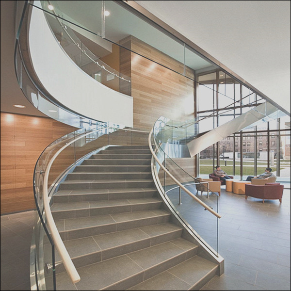 Customized Design Curved Staircase Interior Wood Stairs With 12mm Tempered Glass Railing Prefabricated