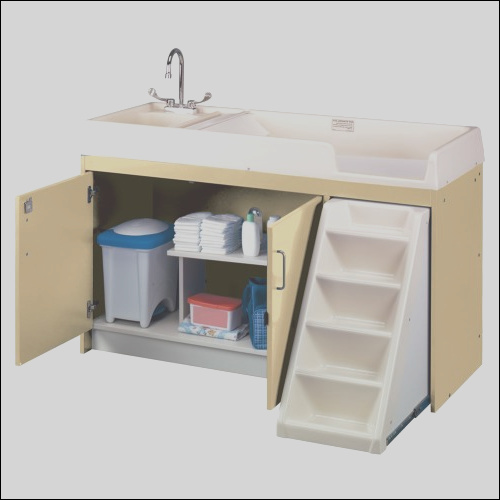 walk up changing table with right sink left stairs natural