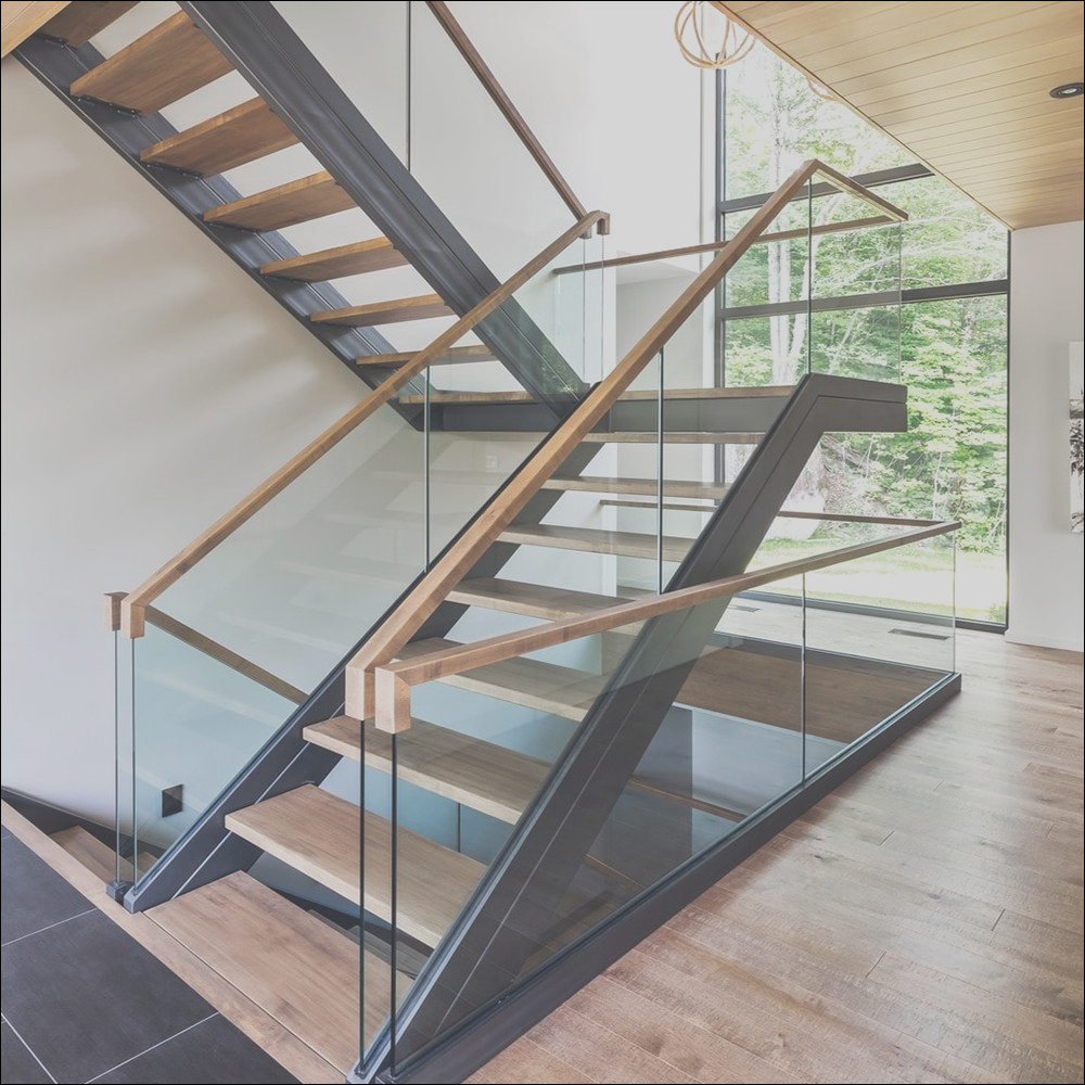 China Modern Design Powder Coated Carbon Steel Stairs with Timber Tread