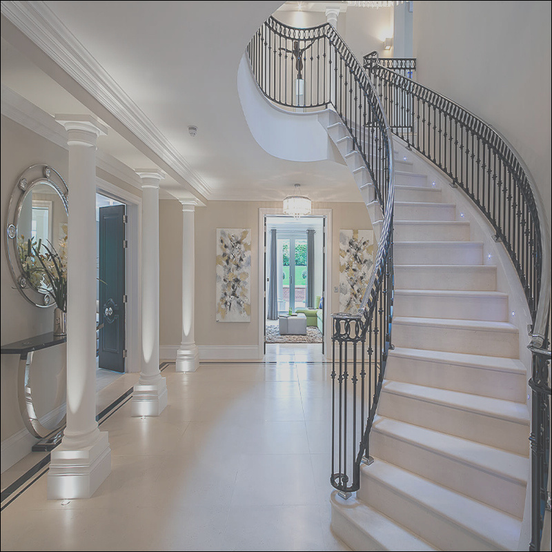 China Modern Design Indoor Round Stairs Curved Staircase with Metal Stair Stringers