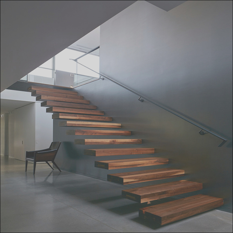 China Modern Home pany Solid Wood Floating Straight Staircase Stairs