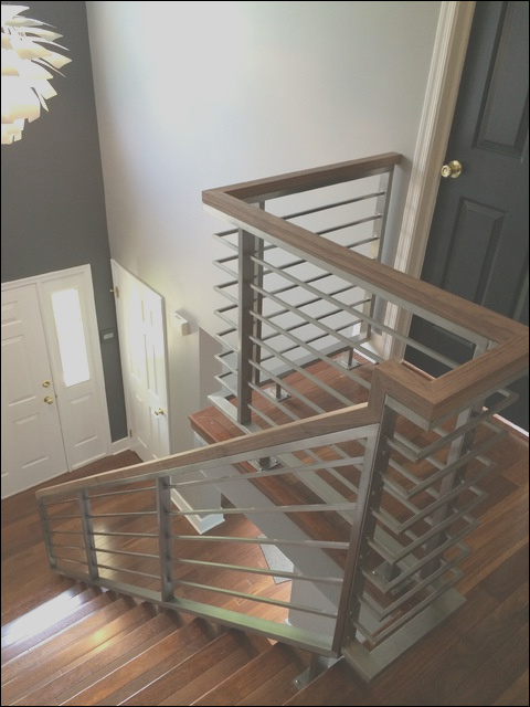 stainless steel horizontal railing modern staircase other metro
