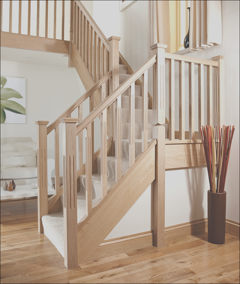 41mm chamfered and fluted reeded stair spindle