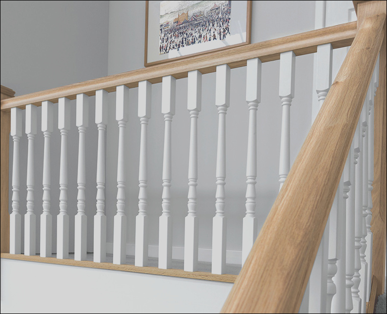white primed stair spindles
