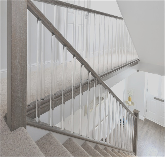 Clear cut spindles on beautiful modern staricase contemporary staircase other