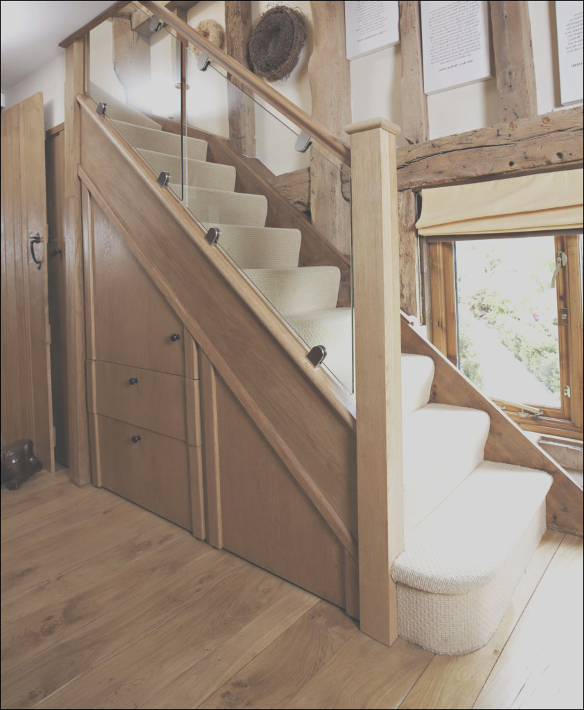 dark oak and inline glass staircase