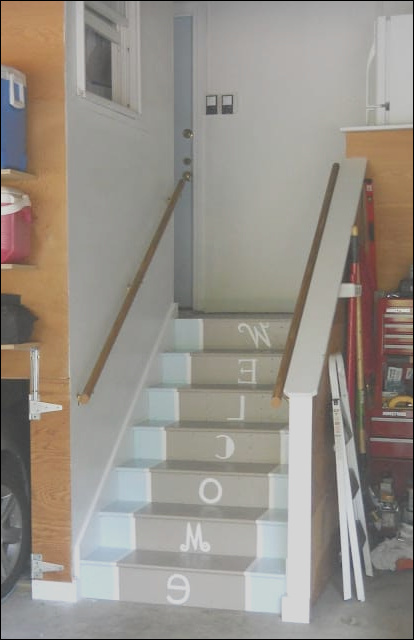 mudroom makeover painted stairs